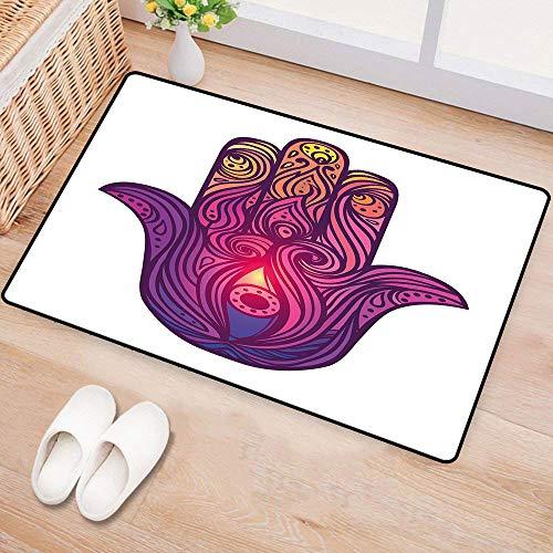 WilliamsDecor HamsaWaterproof Door matVivid Floral Swirls Symbol of Aura Energy Flow Harmony Health DoodleMildew Proof W31 xL47 Violet Light Pink Peach
