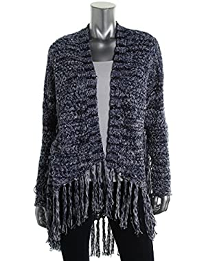 GUESS Indigo Blue L/S Fringe Yarn Cocoon Sweater