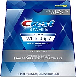 Crest 3D White Supreme Flexfit Whitestrips Dental Teeth Whitening Strips Kit, 21 Treatments - Last 18 Months & Beyond