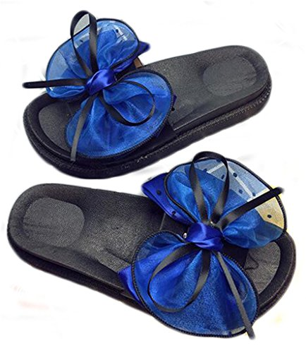 NEWZCERS Forme a mujeres los deslizadores planos, arco del verano los zapatos gruesos de la playa de la parte inferior de la fricción de la palabra Azul