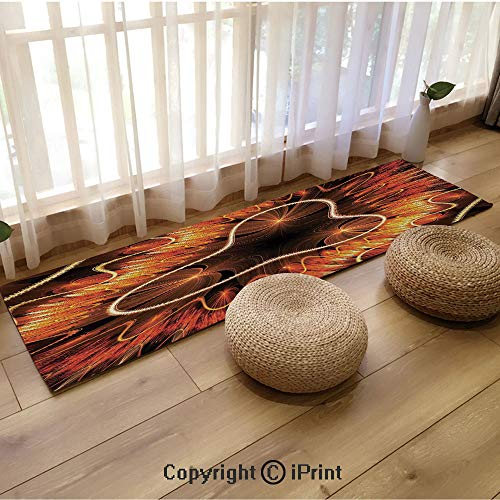 Flannel Long mat,Abstract Electromagnetic Waves Textured Dynamic Effects Artful Graphic Image Vermilion Copper,18
