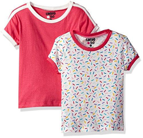 Girls Short Sleeve Ringer - Limited Too Girls' Little 2 Pack Short Sleeve Ringer Tee, KW22 Multi, 6X