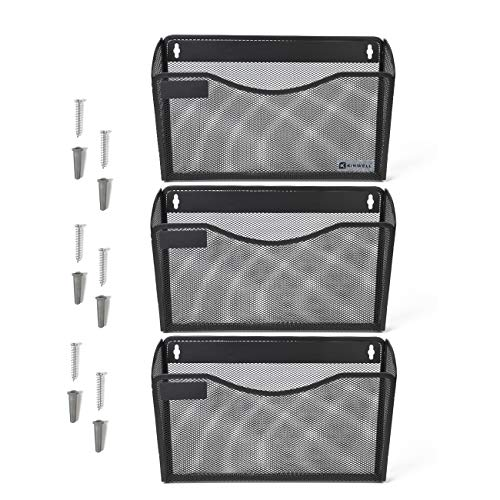 - Kinwell 3 Pack Office Hanging Mesh Letter-Size Wall File Holder Organizer Single Vertical Collection Pocket Set Multi-Purpose Organizer Display Magazines Mail Sorter & Magazine Rack (Black)