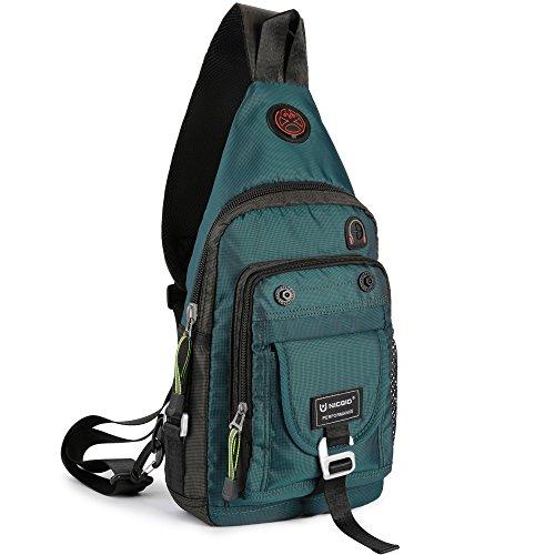 Nicgid Sling Bag Chest Shoulder Backpack Crossbody Bags for iPad Tablet Outdoor Hiking Men Women (Dark green(Fits 11.6-Inch Laptop))