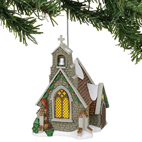 Department 56 Dickens Village Isle of Wight Chapel Hanging Ornament, 4.41 Inch, Multicolor (Ornaments Village Christmas)