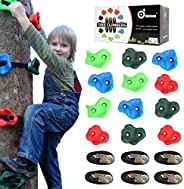 Odoland 12pcs Pig Nose Shape Rock Climbing Holds with 6 Sturdy Ratchets and Straps for Outdoor Wooden Play, Cl