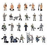 SODIAL(R) 25pcs 1:87 Figurines Painted Figures Miniatures of Railway Workers with Bucket and Ladder