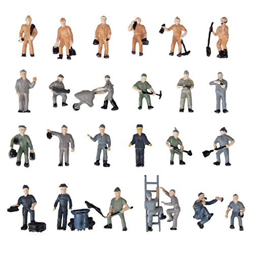 Miniature Railroad - TOOGOO(R) 25pcs 1:87 Figurines Painted Figures Miniatures of Railway Workers with Bucket and Ladder