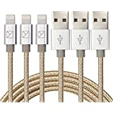 Aonsen 3Pack 6FT Charging Cable Cord Nylon Braided 8 Pin to USB Lightning Cable Charger Cord for iPhone 7/SE/5/5s/6/6s/6 Plus,iPad Air/Mini,iPod,Compatible with iOS10(Gold-Sliver)