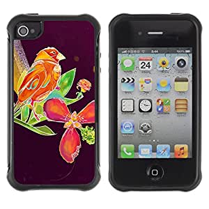 Hybrid Anti-Shock Defend Case for Apple iPhone 4 4S / Beautiful Abstract Bird & Floral Purple