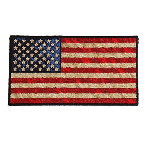 (DISTRESSED AMERICAN FLAG, High Thread Iron-On / Saw-On Rayon PATCH - 5