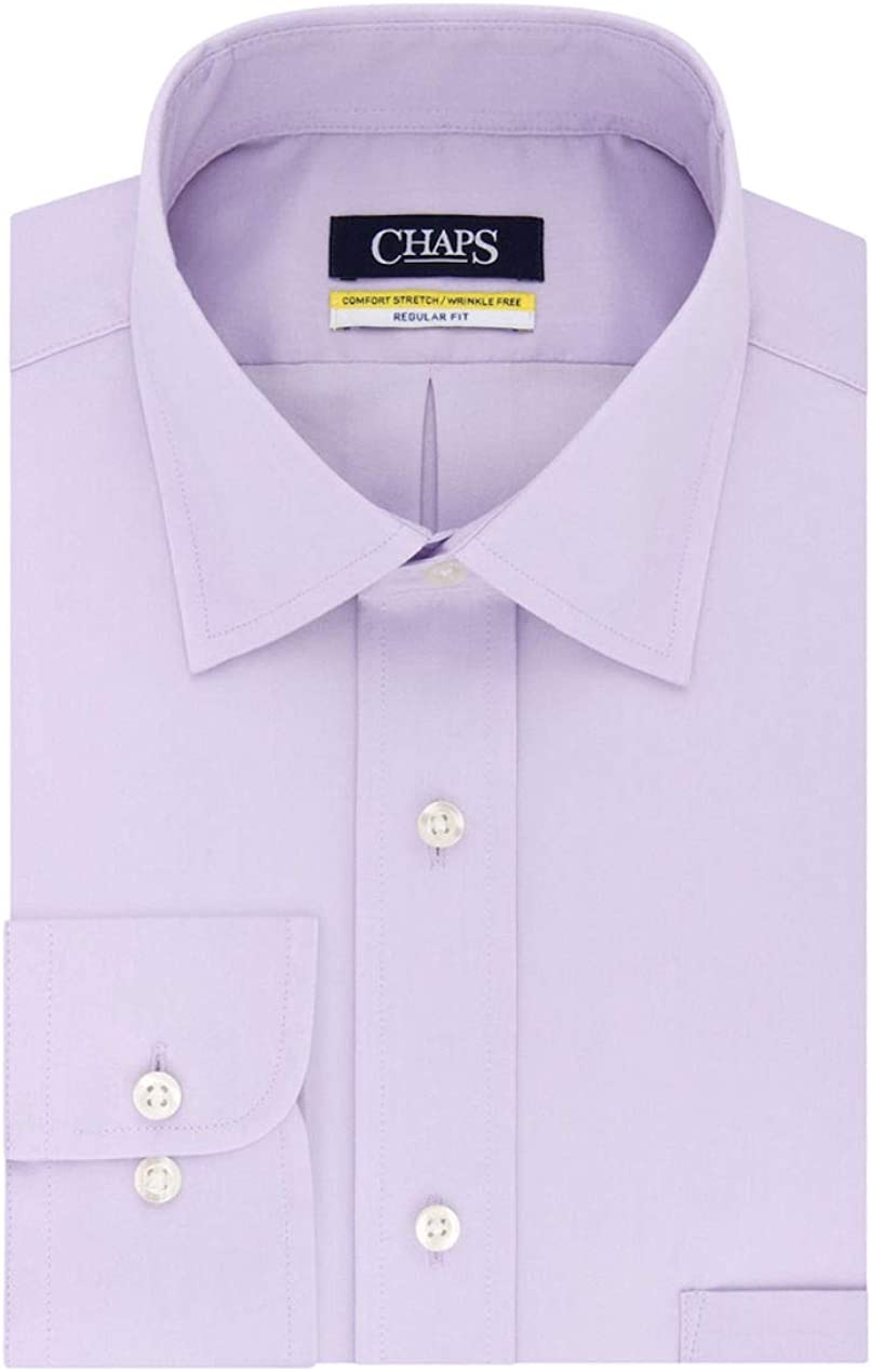 Ice Lilac, Neck 17 Sleeve 34-35 Chaps Mens Elite Performance Regular Fit Comfort Stretch Spread Collar Dress Shirt