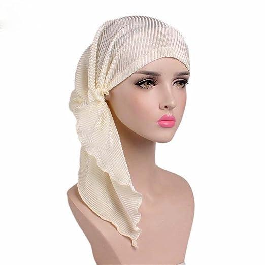b824dc01c9778 MOWANG Women s Head Scarf Pre Tied Chemo Hat Beanie Sleep Turban Headwear  for Cancer (Beige