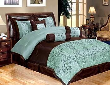 7 Piece Bed In A Bag, PEONY Aqua Blue / Brown FAUX SILK Comforter Set