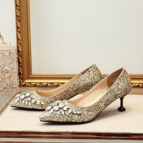 El nupcial rubia high heels el agua fino con Oro en como solo cm 6 crystal con 40 taladro chica zapatos la aqaF10rx