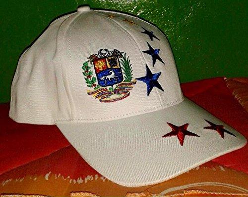 Gorra Blanca De Venezuela a 41 Estrellas Tricolor nuevo blanco sombrero Venezuela con 7 Estrellas bandera Tricolor....