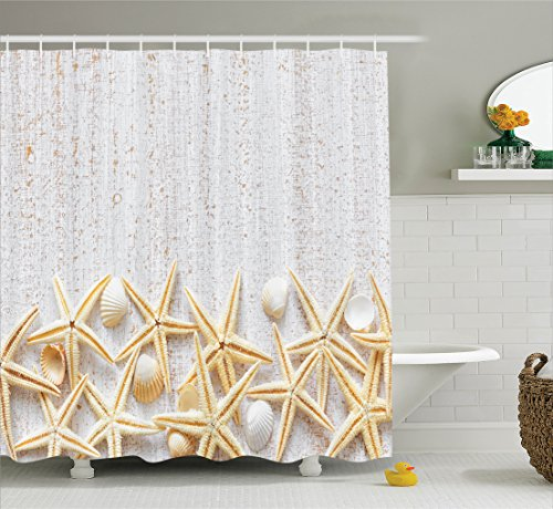 Ambesonne Seashells Decor Shower Curtain Set, Sea Shells On