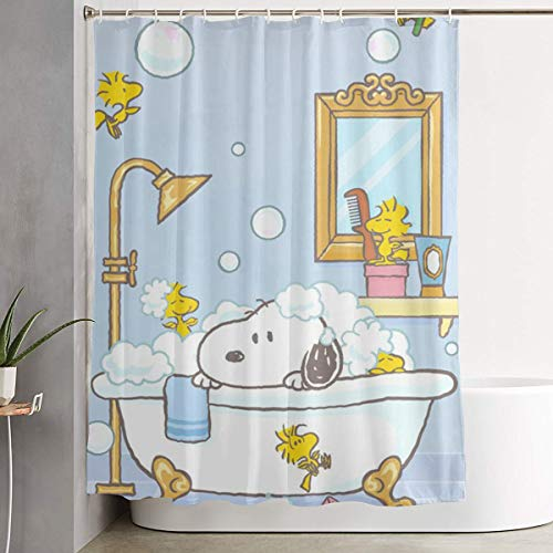 Duwamesva Shower Curtain Snoopy Art Print, Polyester Fabric Bathroom Decorations Collection with Hooks- 60 X 72 Inch ()