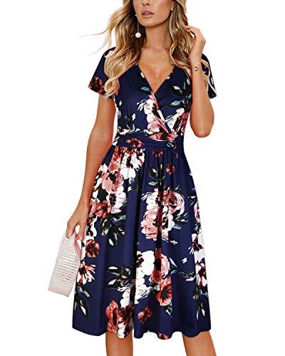 OUGES Women's Summer Short Sleeve V-Neck Pattern Knee Length Dress with Pockets(Floral02,M)