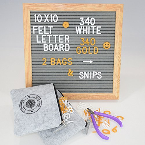 Gray Felt Letter Board 10x10 Natural Oak Frame Hand Oiled Finish | Incl. 640 White & Gold Letters & Emoji | Letter Snips | Now with 2 Zippered Felt Bags for Storage! | Bedroom House Wall (Plastic Frame Natural)