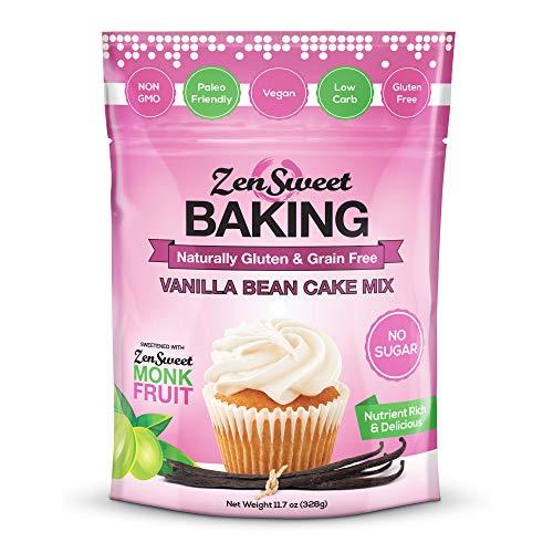 ZenSweet Baking Vanilla Bean Cake Mix - Grain Free, Sugar Free, Low Carb, Gluten Free, Paleo & Keto Friendly, Non GMO, Vegan, 11.7oz