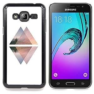 Stuss Case / Funda Carcasa protectora - Pirámide Blanca Negro Arriba Abajo Ascensor - Samsung Galaxy J3 GSM-J300