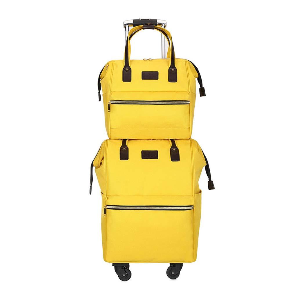 ポータブルトラベルトロリーケース、ママトロリーバッグ、ユニバーサルホイールトラベルハンドバッグ、学生用バックパックトロリーバッグ(1つのビッグと1つの小さな搭乗バッグ) (色 : 2)  2 B07MLFRQ6F