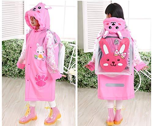 Sywwlov Kids Toddler Raincoat Hooded School Backpack Reusable Rain Ponchos Cape Jacket Rainwear (Pink, M(Fit 42.9''-46.8'' Height)) by Sywwlov (Image #3)