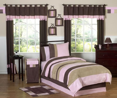 Soho Pink and Brown Childrens and Kids 3 Piece Full/Queen Girls Bedding Set