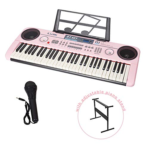 COLOR TREE 61 Key Music Electronic Keyboard Electric Digital Piano Organ with Piano Stand Optional (Pink Keyboard with Stand)
