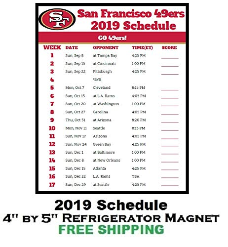 photograph relating to 49ers Printable Schedule identify : San Francisco 49ers NFL Soccer 2019 Program