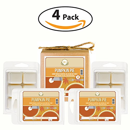 Aira Fall Wax Melt - Organic, Vegan, Kosher, Scented Soy Wax Cubes w/ Essential Oil Blends - No Chemical 100% Soy Wax Melts for Electric/Tealight Melters - Hand-poured Soy Tarts - Pumpkin Pie - 4 Pack (Pie Candle Tarts)