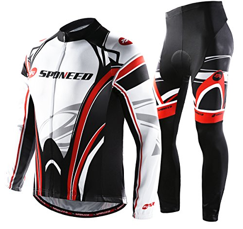 - sponeed Men's Bicycle Jersey Polyester Set Pants Cycle Jacket Long-sleeved Winter Cycling Wear Asian XL/US L White Red
