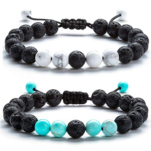 Hamoery Men Women 8mm Lava Rock Anxiety Aromatherapy Essential Oil Diffuser Bracelet Braided Rope Natural Stone Yoga Beads Bracelet-21017