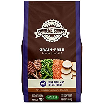 Supreme Source Premium Dry Dog Food Grain Free, USDA Organic Seaweed, Protein, Lamb Meal & Potato Recipe for All Life Stages. Made in The USA. (22lb)