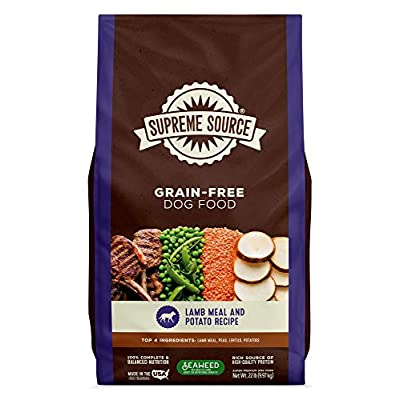 Supreme Source Premium Dry Dog Food Grain Free, USDA Organic Seaweed, Protein, Lamb Meal & Potato Recipe for All Life Stages. Made in The USA.