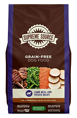 Supreme Source Premium Dry Dog Food Grain Free, USDA Organic Seaweed, Protein, Lamb Meal & Potato Recipe for All Life Stages. Made in The USA. (22lb) (Best Dry Dog Food Made In Usa)
