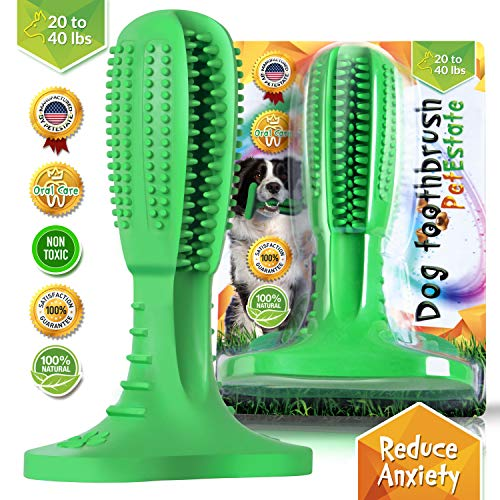 PetEstate Dog Toothbrush Stick Bristly Brushing Stick Dog Teeth Cleaning Treats Chew Toys Bite Resistant Puppy Effective Dental Care Doggy Natural Rubber Massager for Small & Medium Dogs Pets Green