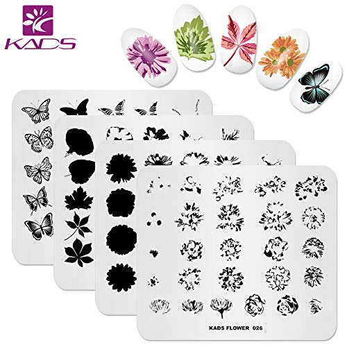 KADS Nail Art Stamp Plate Overprint Butterfly Flower Leaves Series Nail stamping plate Template Image Plate Nail Art DIY Decoration ()