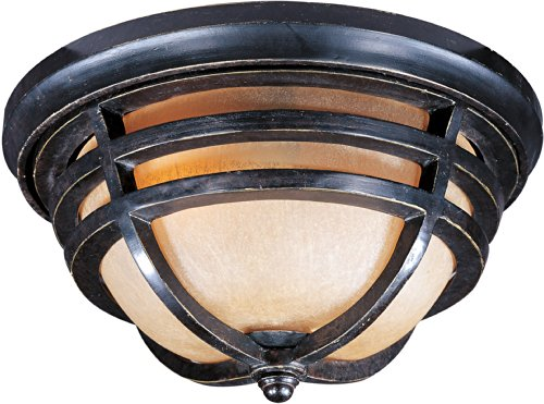 Maxim 40109MCAT Westport 2-Light Outdoor Ceiling Mount, Artesian Bronze Finish, Mocha Cloud Glass, MB Incandescent Incandescent Bulb , 60W Max., Dry Safety Rating, Standard Dimmable, Glass Shade Material, Rated Lumens