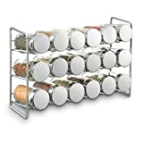 "Polder 5429-05 Compact 18-Jar Spice Rack, 11"" x 3.5"" x 7.5"", Chrome"