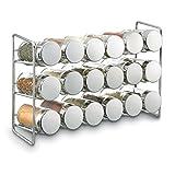 "Polder 5429-05 Compact 18-Jar Spice Rack, 11"" x 3.5"" x 7.5"", Chrome"