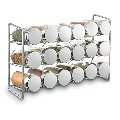 "Polder 5429-05 Compact 18-Jar Spice Rack, 11.625"" x 3.375"" x 7.5"", Chrome"