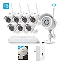 Zmodo - 8-Channel, 8-Camera Indoor/Outdoor Wireless High-Definition NVR Surveillance System with 1TB HDD and a Zmodo Beam WiFi Range Extender