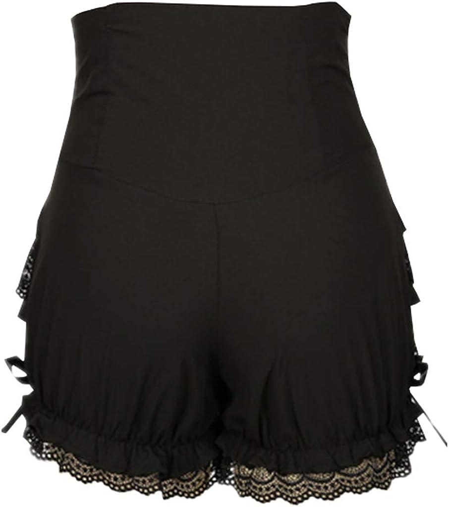 CosplayDiy Womens Cute Gothic Steampunk Lolita Maid Ruffle Lace Pumpkin Cosplay Bloomers Shorts