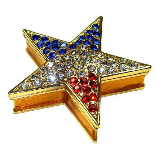 "Objet D'Art Release #312 ""Star Spangled Banner"" USA Red, White and Blue Star Handmade Jeweled Metal & Enamel Trinket Box"