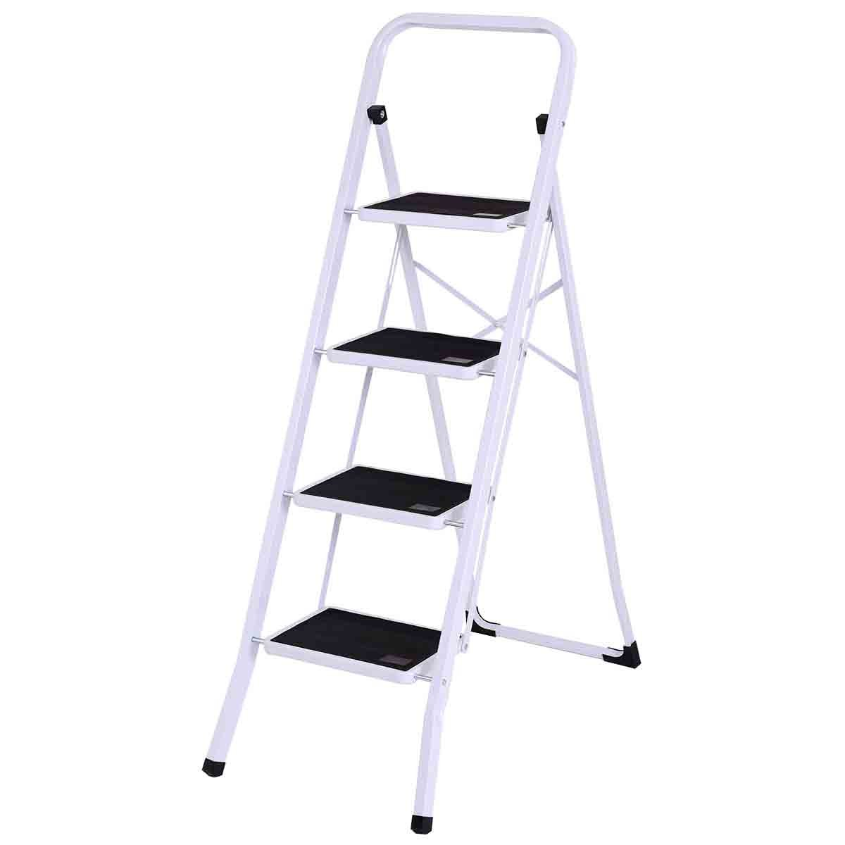 Safeplus Folding Step Stool Aluminum Double Sided Step Ladder with 330 lbs Capacity for Warehouse Garden Kitchen Office (4 steps)