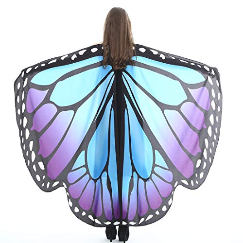 Halloween Party Soft Fabric Butterfly Wings Shawl Fairy Ladies Nymph Pixie Costume Accessory (Blue -