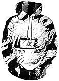 AMOMA Unisex Realistic Anime Hoodie Dragon Ball Naruto Bleach 3D Print Pullover Hooded Sweatshirt(S/M,Naruto)