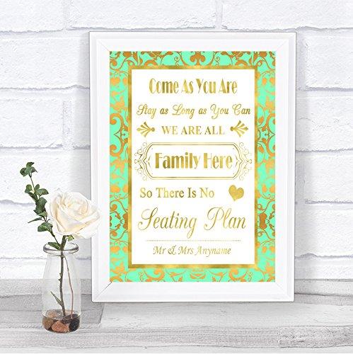 Letrero de boda personalizable con texto en inglés